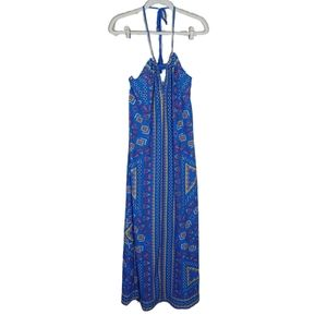 Flying Tomato Blue Print Halter Maxi Dress Sz Med